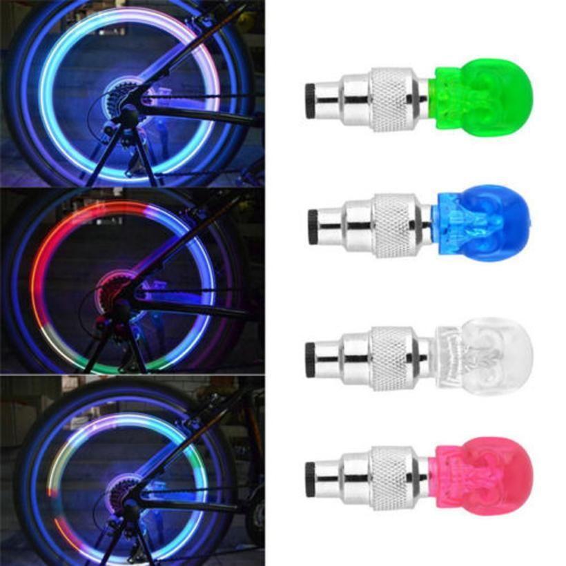 2pcs Bicycle Light Skull Shape Tyre Valve Caps Led Light Wheel