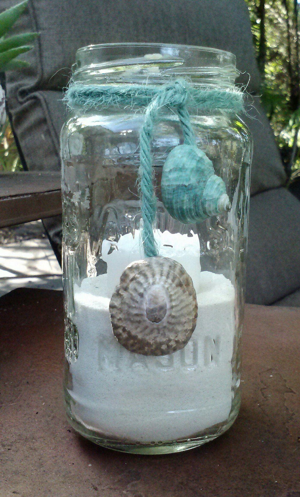 Upcycled Mason Jar Candle Holder With Turquoise Jute Large