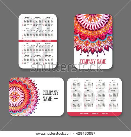 template national design pocket calendar 2017 with colorful mandala