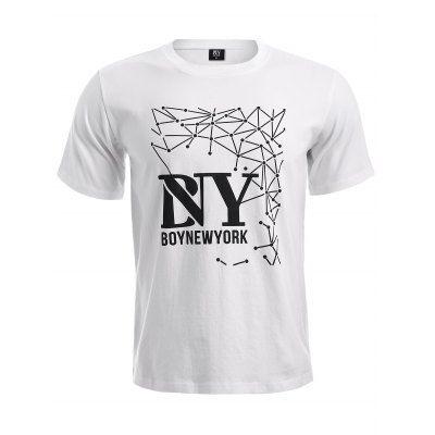 Prezzi e Sconti: #Boynewyork geometric pattern short sleeves Instock  ad Euro 14.88 in #White #Mens clothing boynewyork