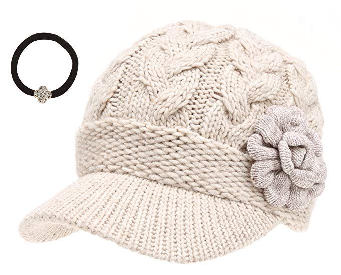 3ef74fb7ad0 J-Fashion Women s Cable Knitted Double Layer Visor Beanie Hats with Hair Tie