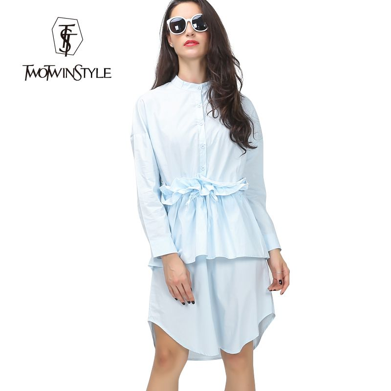 3eb03fbb5c5  TWOTWINSTYLE  2017 Spring Ruffles Pleated Drawstring Waisted Shirt Women  Dress Long Sleeve New Casual Clothing Fashion