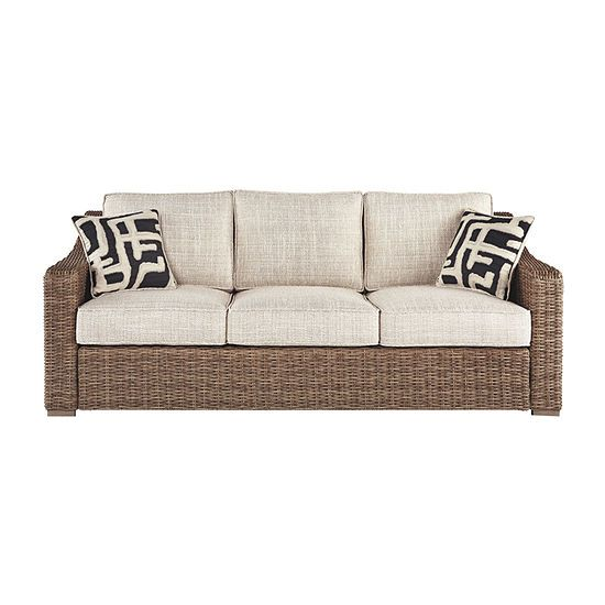 Outdoor By Ashley Beachcroft Patio Sofa, Color: Beige ... on Beachcroft Beige Outdoor Living Room Set  id=12254