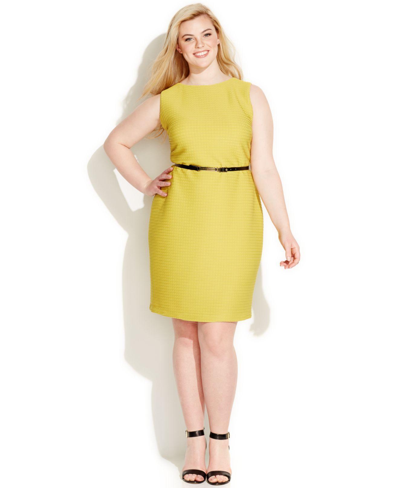 Calvin Klein Plus Size Textured-Knit Belted Sheath Dress ...