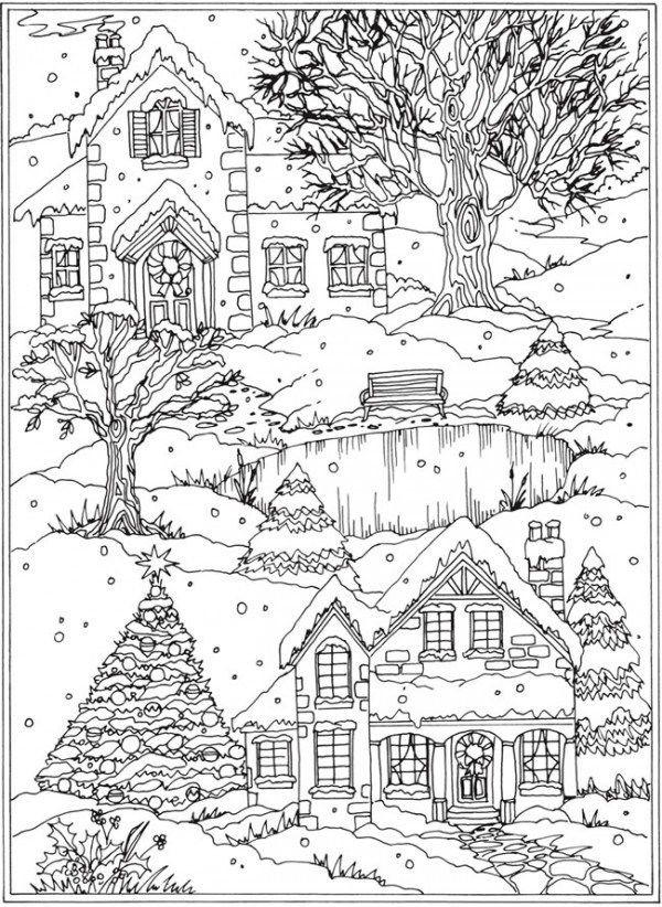 Freebie Snow Scene Coloring Page Stamping Coloring Pages Winter Christmas Coloring Pages Christmas Coloring Books