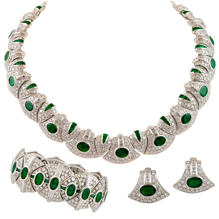 BULGARI Diamond & Emerald Parure Suite Necklace - 1980's