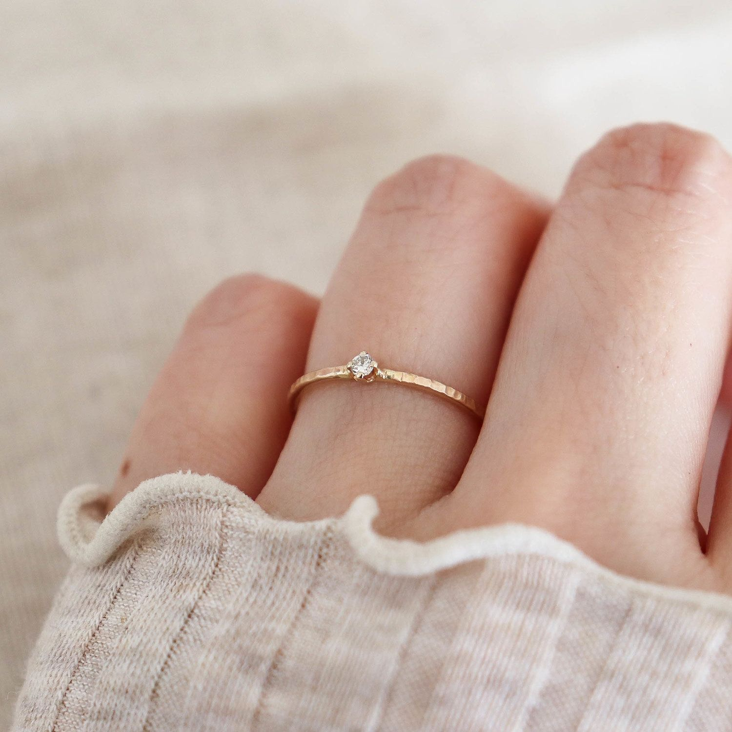03ct Tiny diamond solitaire ring. 14K Gold — Studio Cosette