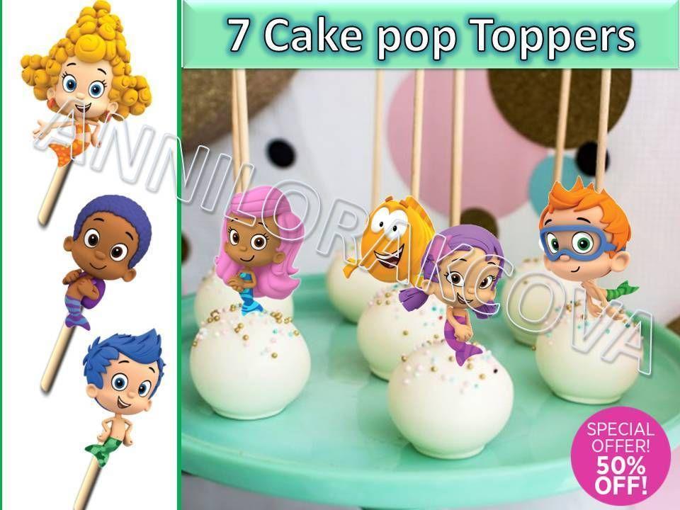 Swell Printable Bubble Guppies Cupcake Topper Cake Pop Topper Picks Personalised Birthday Cards Veneteletsinfo