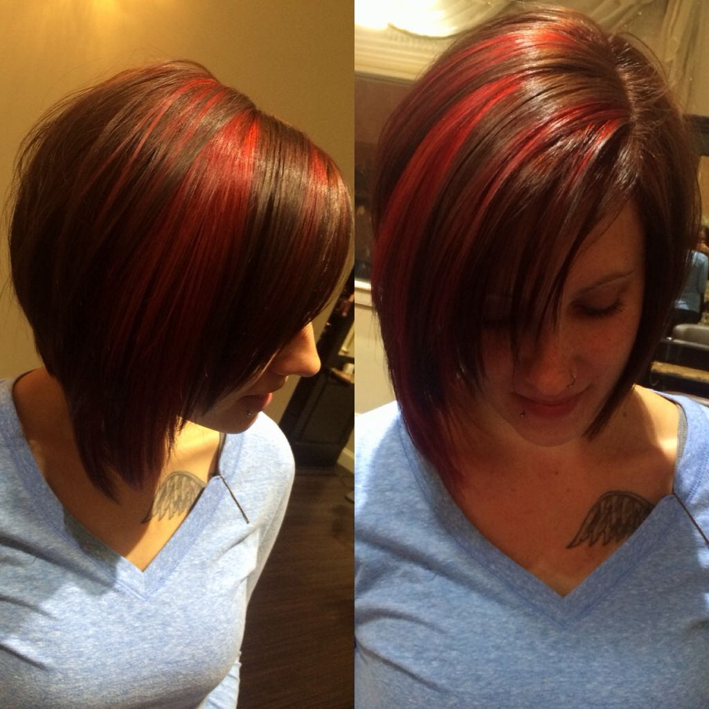 Inverted Bob Haircut Chocolate Brown Base Color With Red