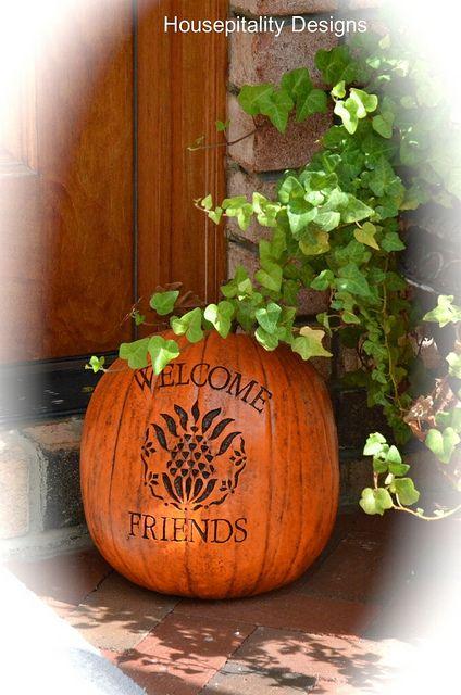 Love the symbol for hospitality on the pumpkin!  DSC_4632 by shirleystankus, via Flickr