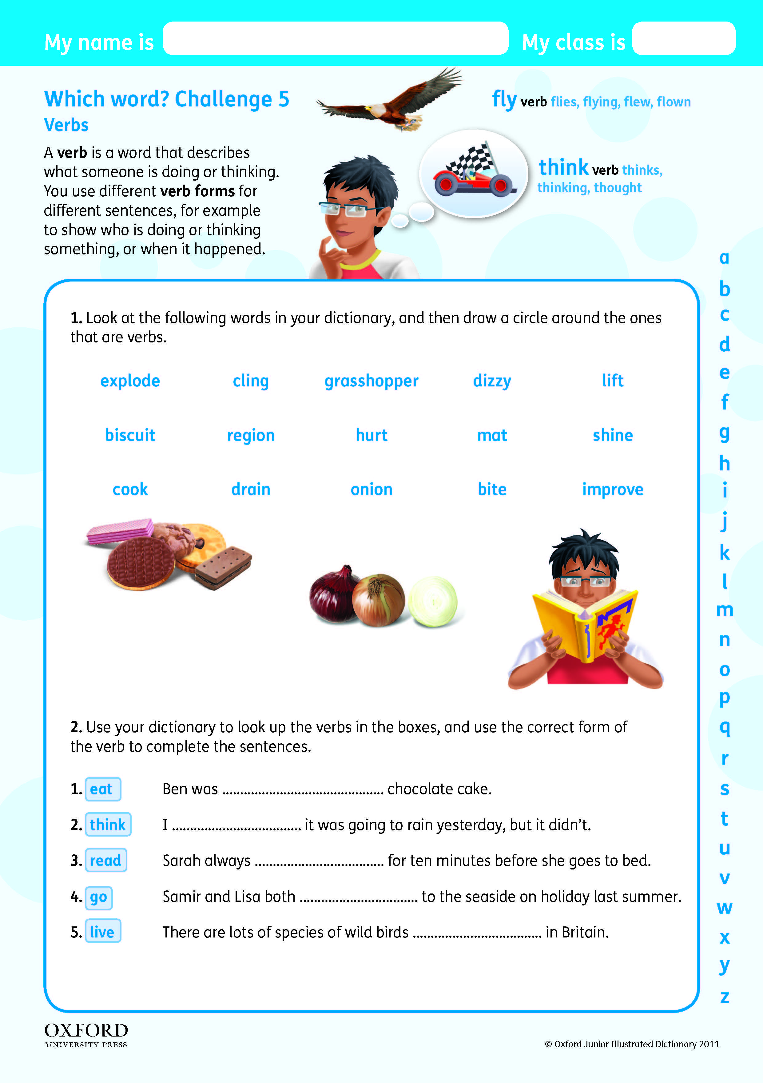 Download Your Free Oxford Junior Illustrated Dictionary Challenge Worksheet Teach Children About Verbs Alphabet Worksheets Preschool Word Challenge Dictionary [ 3520 x 2481 Pixel ]