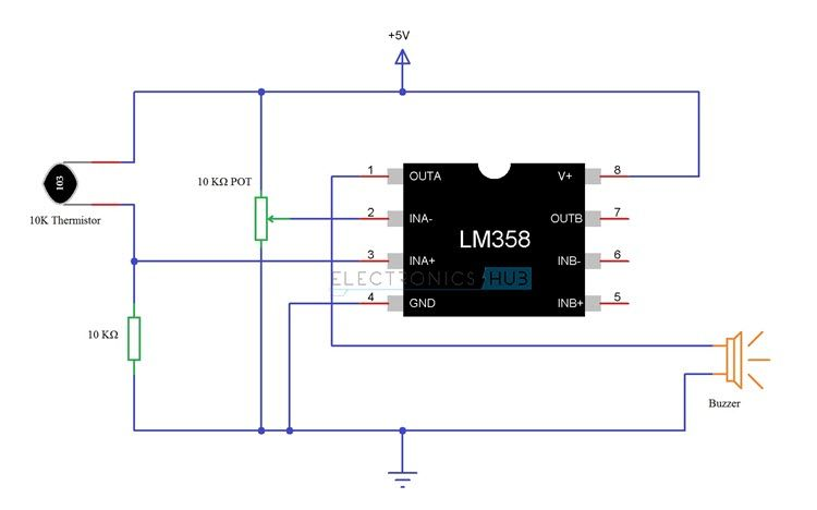 Simple Fire Alarm Circuit Using Thermistor, Germanium Diode and ...