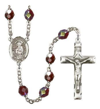 St. Christina the Astonishing Silver-Plated Rosary with 7mm Garnet Lock Link Aurora Borealis beads