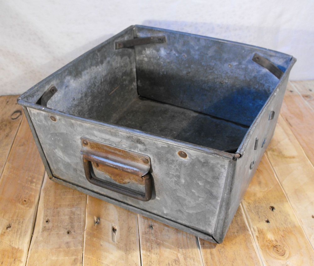 Kitchen Garden Planter Vintage Industrial Galvanised Metal Storage Tray Retro Kitchen