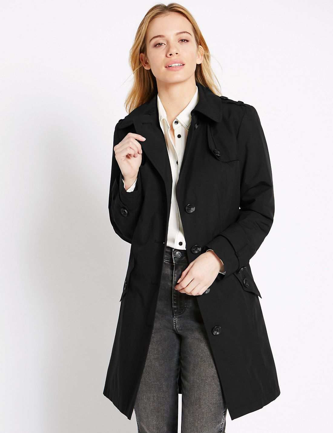 M&S Collection - PETITE Belted Trench Coat with Stormwear in black ...