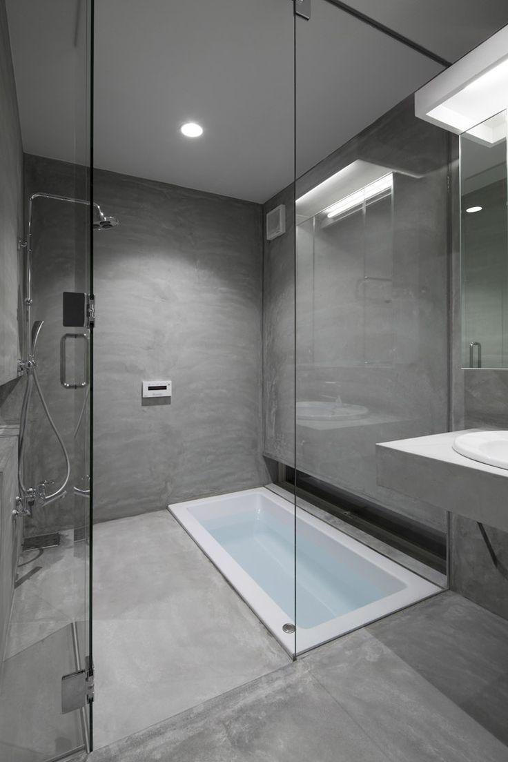 Sunken Bath With Shower. Tamatsu House, Osaka, Japan, By Ido, Kenji  Architectural Studio.