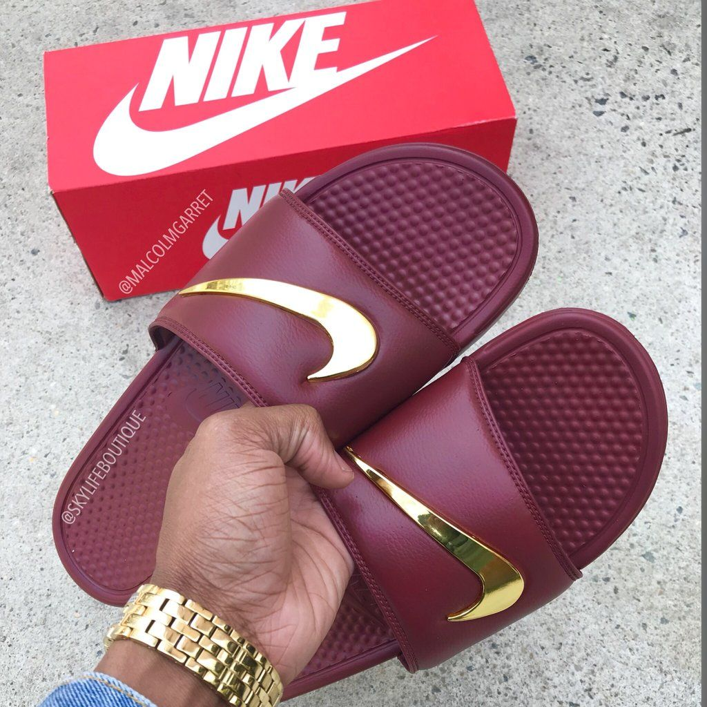 "9064eaa5c Nike Benassi ""Burgundy"" Golden Check Slides - Pre order in 2019 ..."