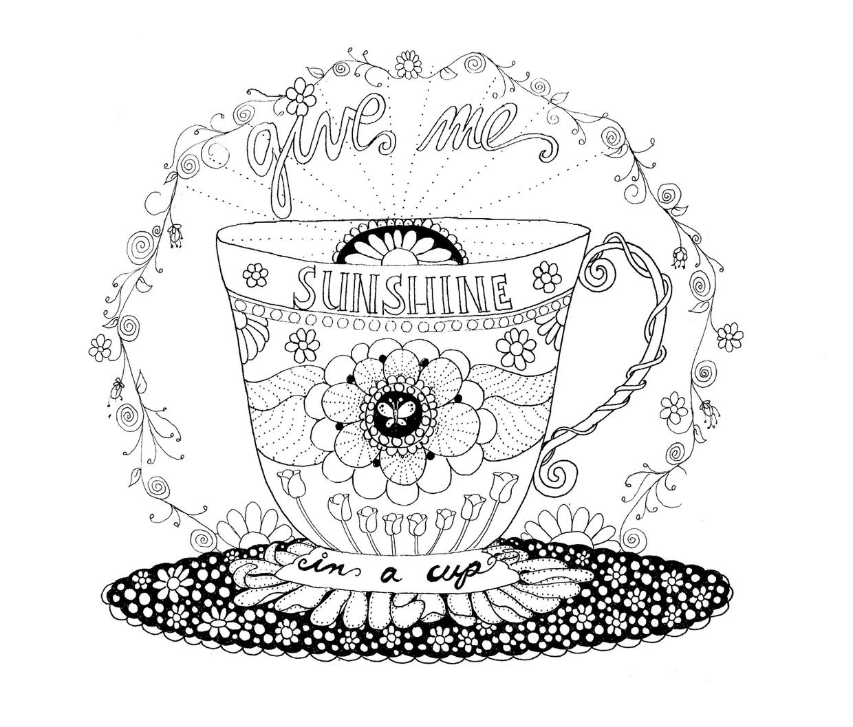 Cup of Sunshine Coloring Pages Black and white drawing