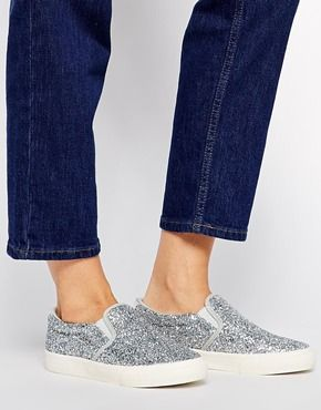 DKNY Active Beth Silver Glitter Slip On Trainers