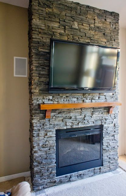 hirondelle rustique diy stacked stone fireplace first remodeling rh pinterest ca installing stacked slate fireplace diy stacked stone fireplace surround