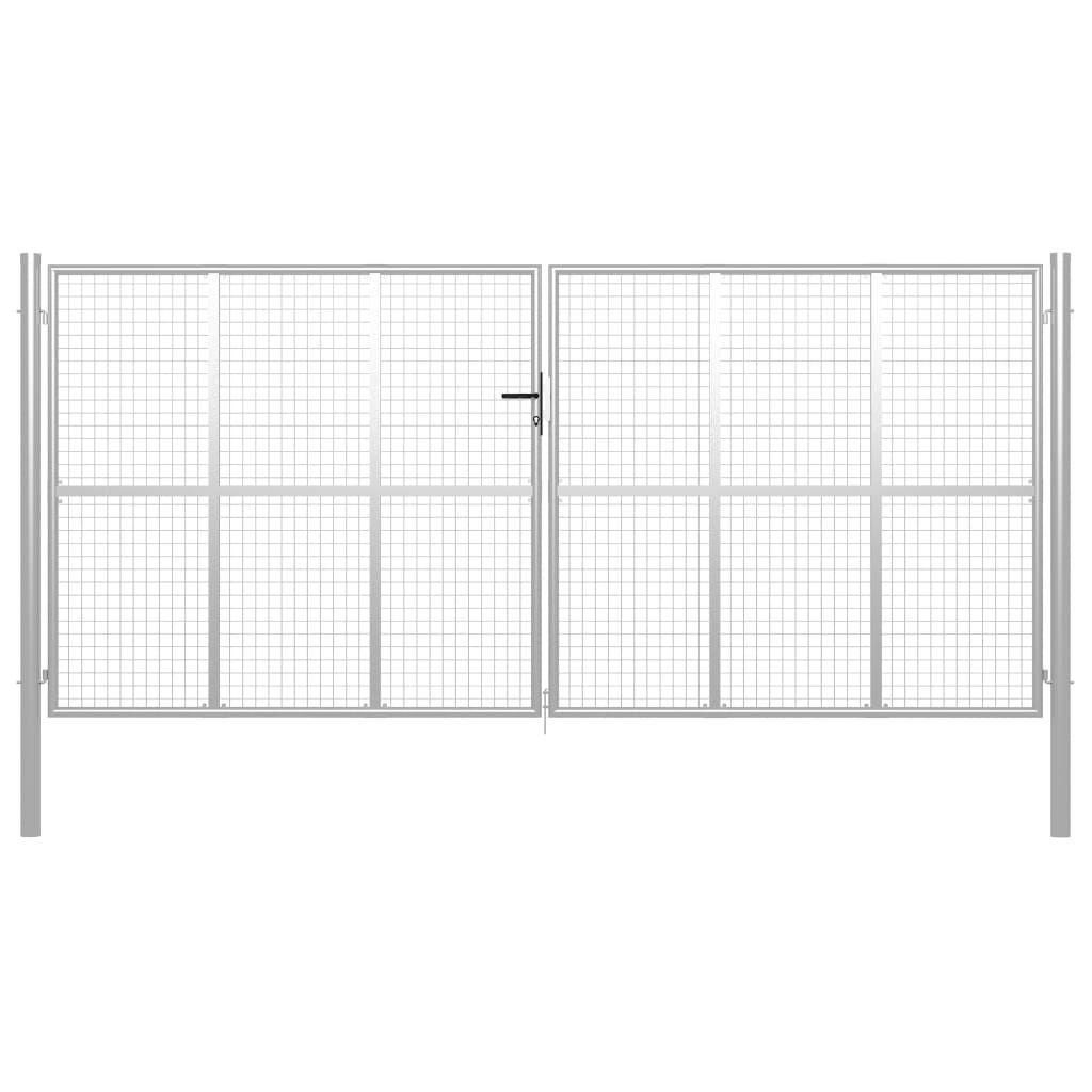 vidaXL Fence Door Silver 415 x 225 cm from Galvanized …