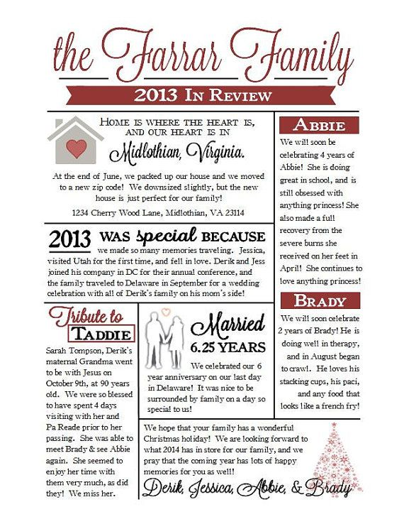 Custom Christmas Family Newsletter by EternalandTimeless on Etsy - family reunion letter templates
