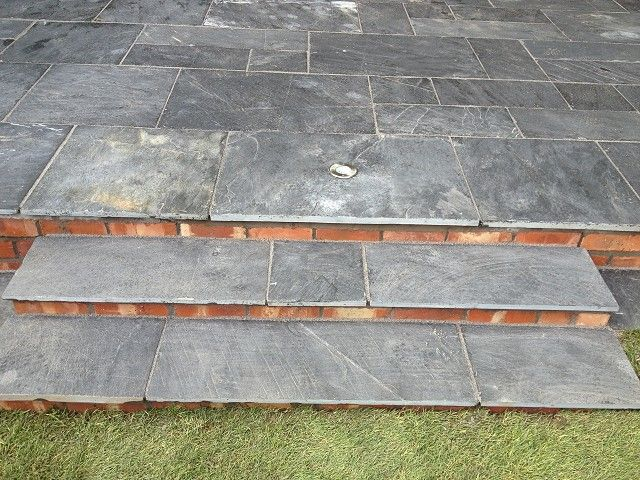 Patio Steps In Indian Stone And Brick