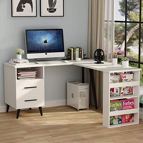 Amazon Com L Shaped Desk Tribesigns Modern Corner Computer Desk Study Writing Table Workstation With Corner Computer Desk Office Computer Desk L Shaped Desk