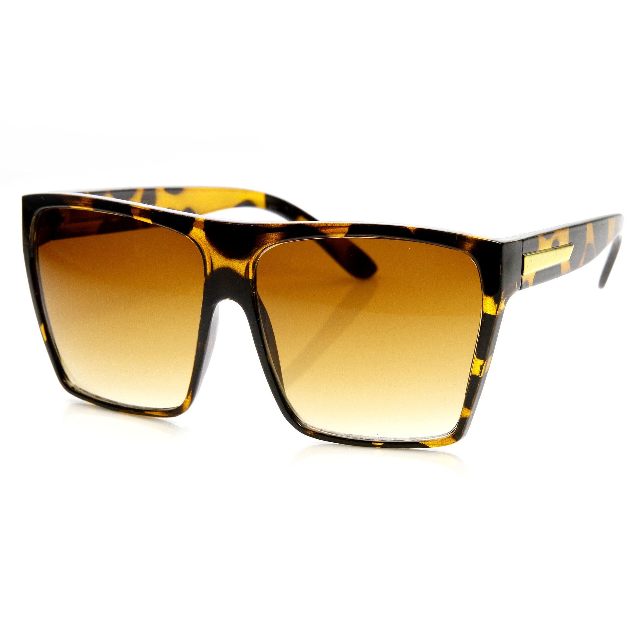 Large Oversized Squared Sunglasses with Temple Accents