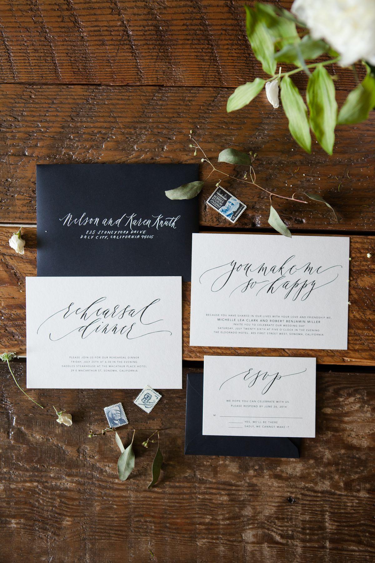 Monochromatic calligraphy wedding invitations written