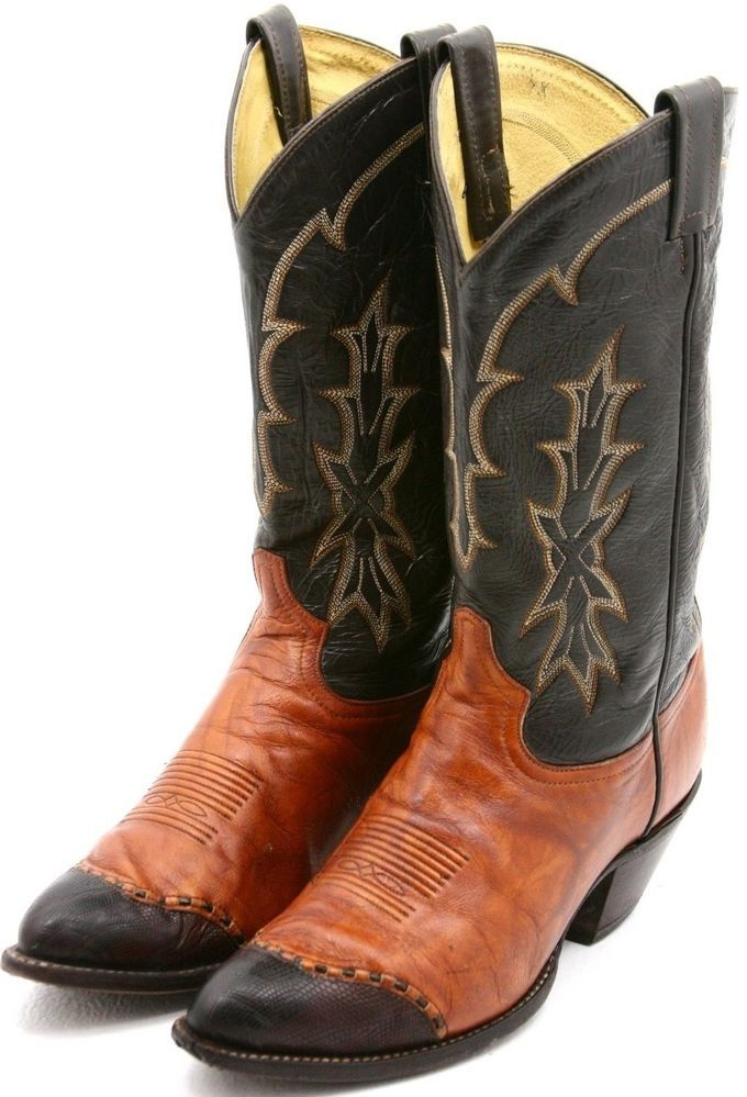 d00b4fc0819 Tony Lama Mens Cowboy Boots Size 10 D Orange Brown Teju Wingtip ...