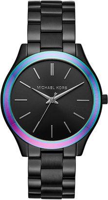 Michael Kors 42mm Slim Runway Bracelet Watch Black Watches Womens