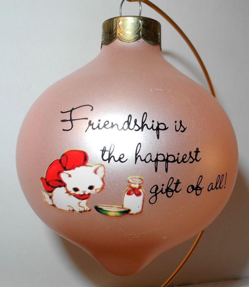 Vintage 1984 Hallmark Ornament Pink Gift of Friendship Girl Cat Big Eyes
