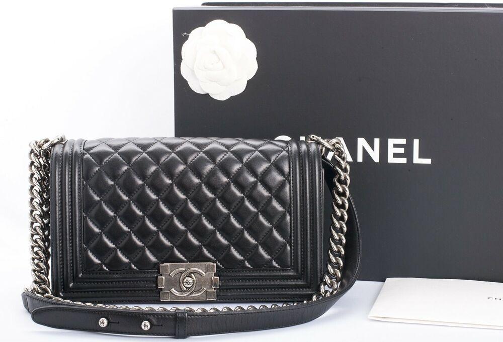 465b67be843e00 Authentic CHANEL Medium Le Boy Bag Black Lambskin Ruthenium Hardware 2016