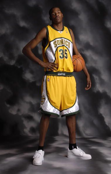 Kevin Durant of the Seattle SuperSonics poses for a portrait during the  2007 NBA Rookie Photo Shoot on July 27 2007 at the MSG Training Facility in. 8e156e8b2