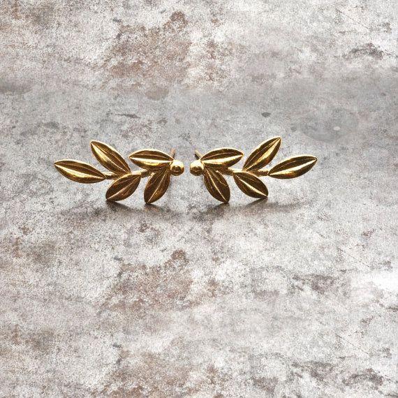 Goldene Olive Blätter, Ohrringe, Ohrstecker Olive Zweig, elegante Olivenzweig zarte Ohrringe, griechische Göttin Athene Symbol griechische Schmuck