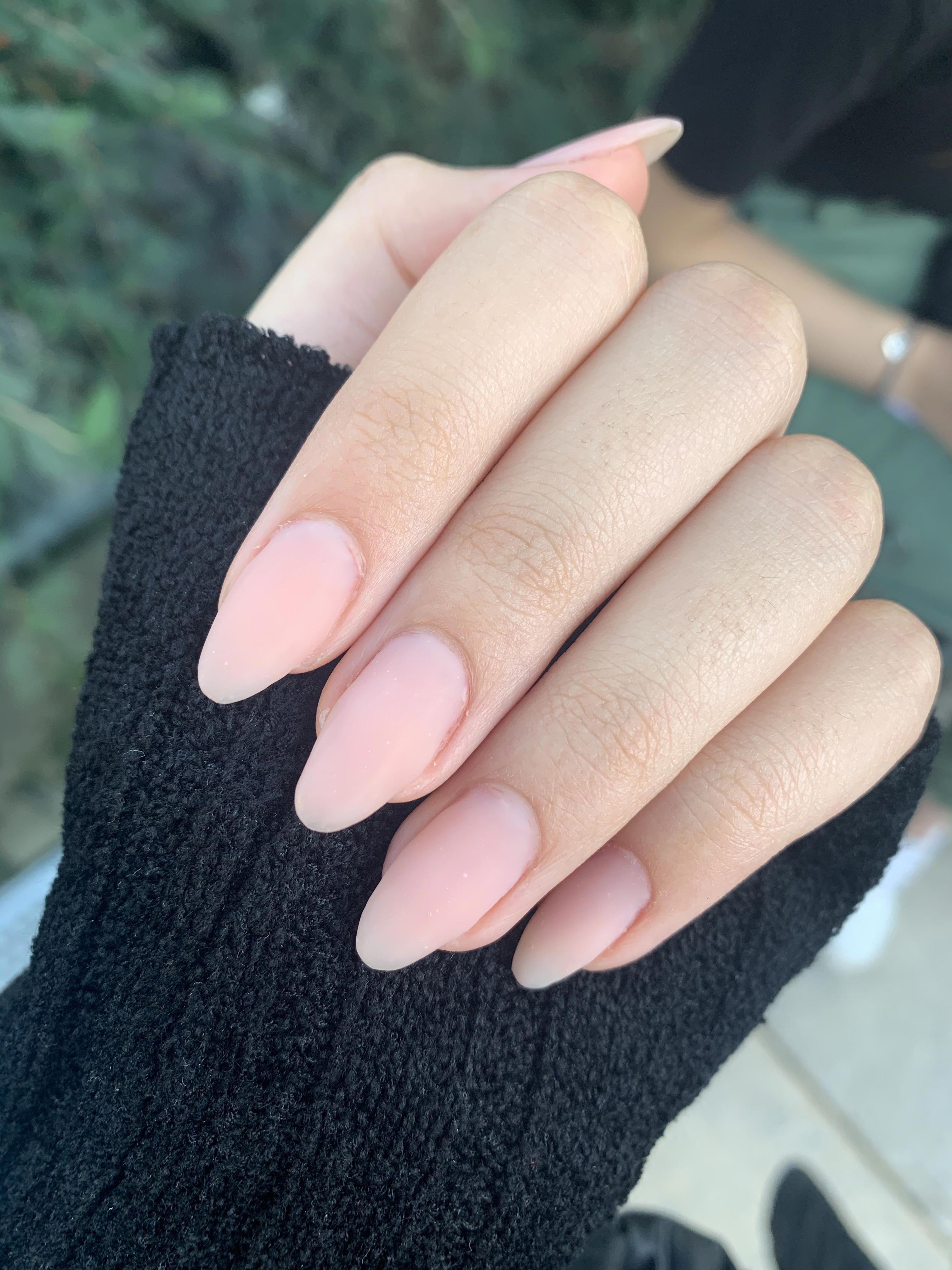 Oval Almond Matte Natural Nails Protez Acrylic Nail Art Pinkish Pink Acrylicnailsshort In 2020 Light Pink Acrylic Nails Purple Acrylic Nails Green Acrylic Nails