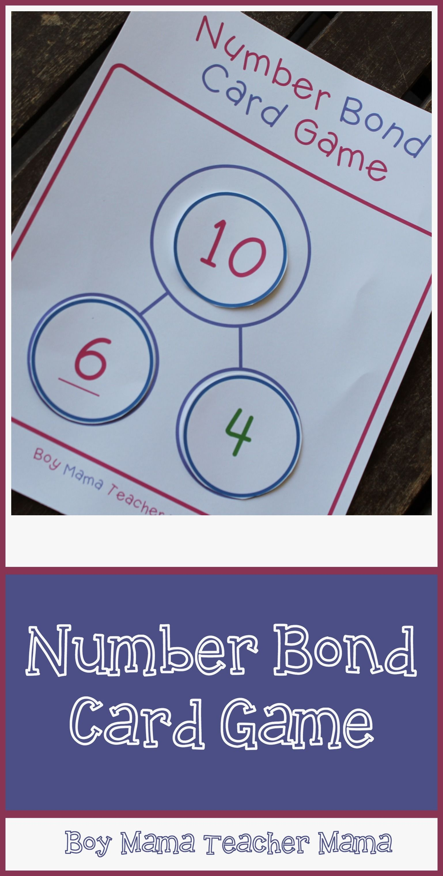 Teacher Mama  Number Bond Card Game   Number Bonds   Pinterest     Teacher Mama  Number Bond Card Game   Simple to make or just use playing  cards