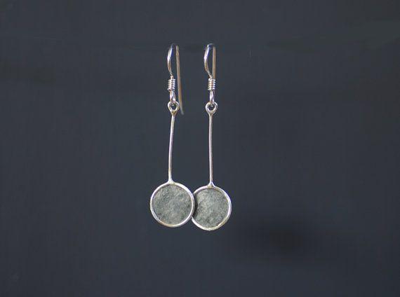 Pendulum earrings in slate dove gray sterling silver paper artisan