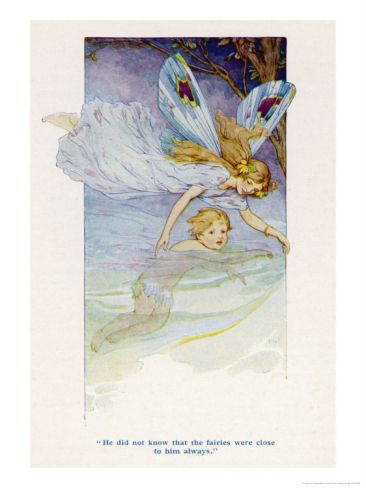 Tom is Guided Along the Stream by a Fairy Giclee Print by Harry G. Theaker at Art.com