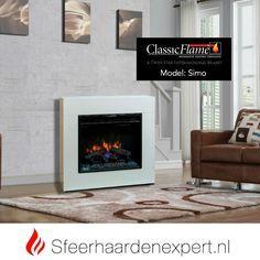 Classic Flame elektrische sfeerhaard CF23 met schouw ombouw Simo wit