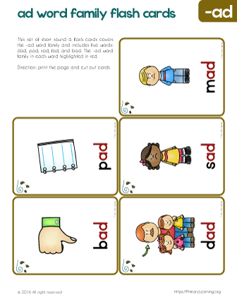 ad family words flash cards devon pinterest word families