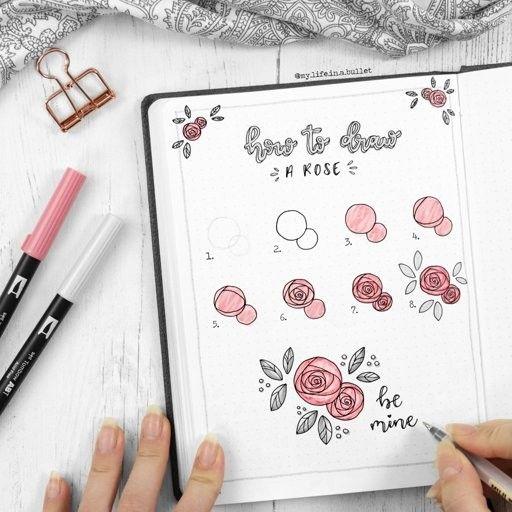 comment dessiner une rose en deux coups de crayon pour un bullet journal au top stylostyl. Black Bedroom Furniture Sets. Home Design Ideas