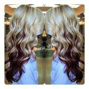 Beautiful Blonde With Red Underneath Burgundy Hair Hair Styles Hair