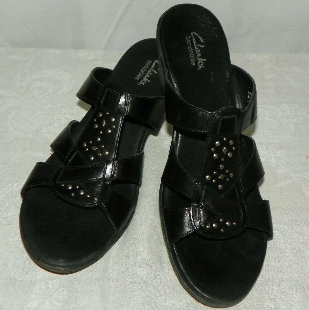 Clarks Black Leather Open Toe Kitten Heel Sandals Size 9 M Style No 81966 Ebay In 2020 Kitten Heel Sandals Sandals Heels Open Toe Sandals Heels