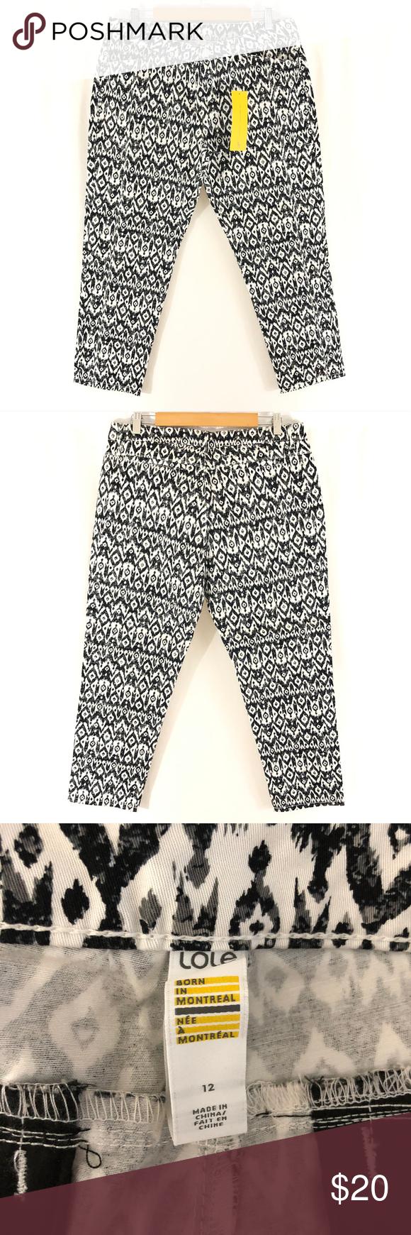LOLE Womens Jolie Pants Ankle Crop Ikat Cotton Blend Stretch Black White Size 12