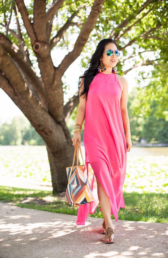 92a1090b32 cute & little blog   petite fashion   pink chiffon maxi beach cover-up  dress, tory burch kerrington tote, tory burch nude miller sandals, ...