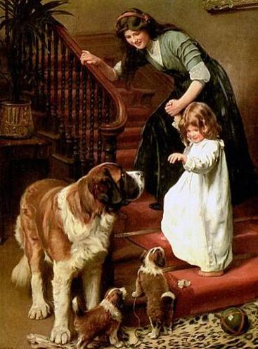 2 moms with babies, 1 human, 1 St. Bernard. Peinture d'Arthur John Esley