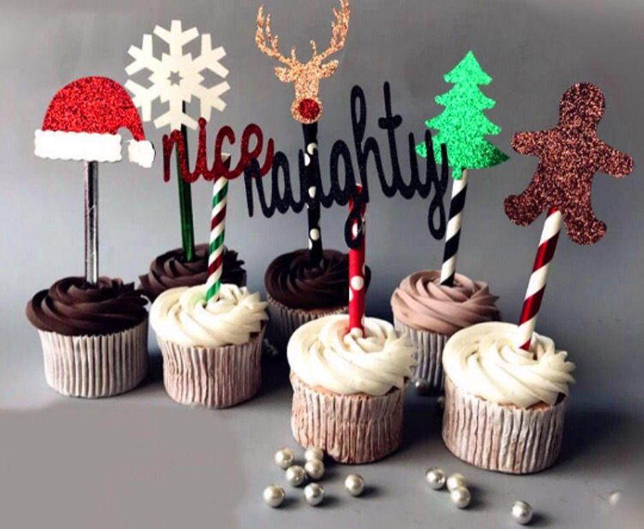 Christmas Cupcake Toppers Christmas Cake topper Christmas Cupcakes Christmas Present Cake Toppers Christmas Party Picks