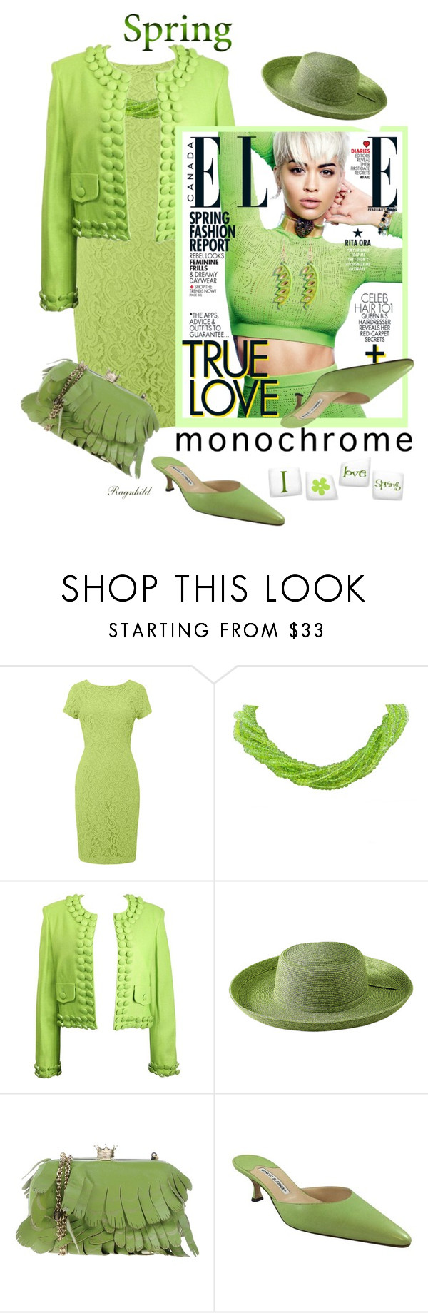 """""""One Color from Head to Toe!"""" by ragnh-mjos ❤ liked on Polyvore featuring Moschino, San Diego Hat Co., RED Valentino, Manolo Blahnik and Urbiana"""